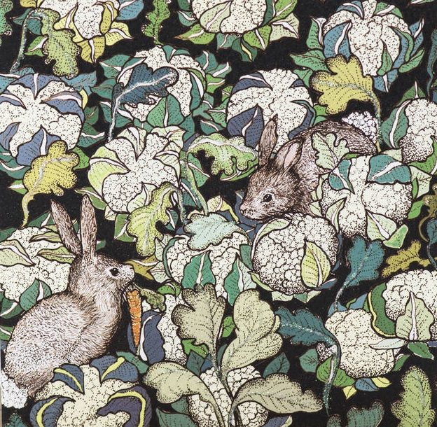 Rabbits and Cauliflowers Print by Fay's Studio