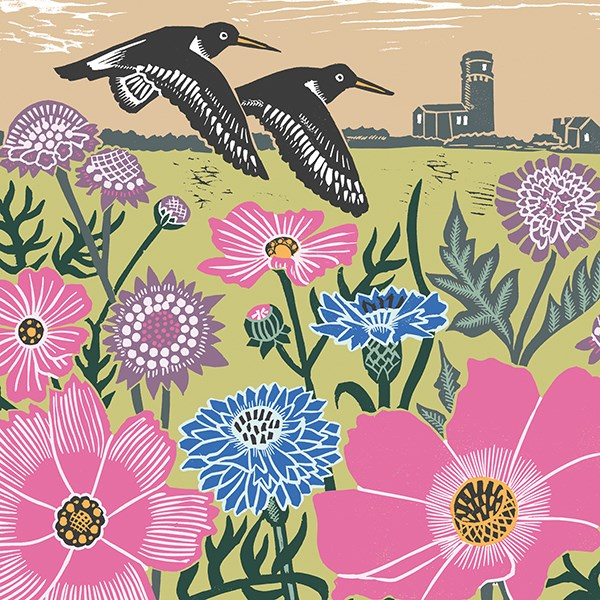 cliff lighthouse greetings card shows two birds against pink and blue flowers