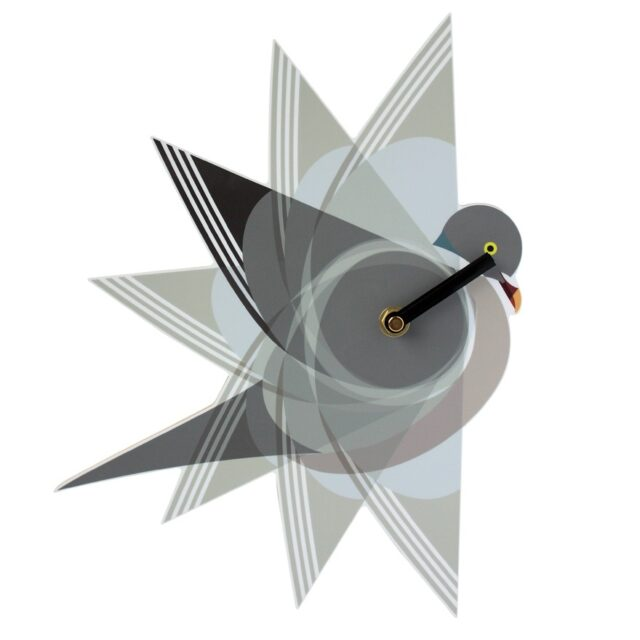 wood pigeon wall clock with grey black and white wings forming the face