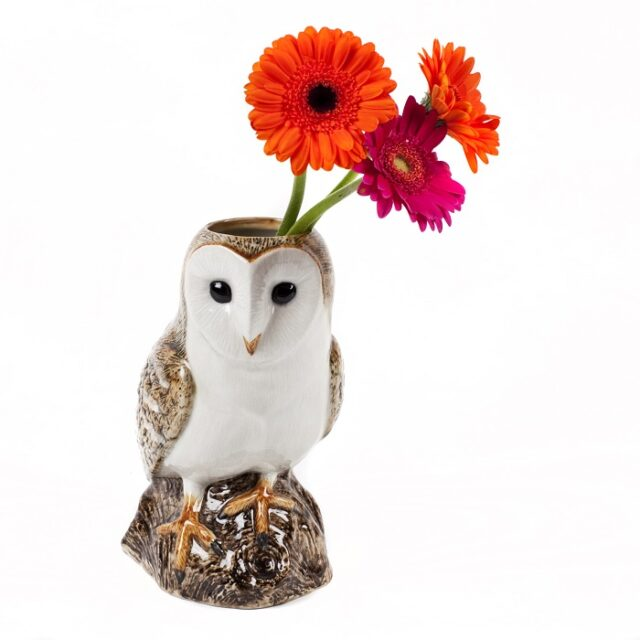 barn owl vase large by quail ceramics shows owl vase with flowers in top