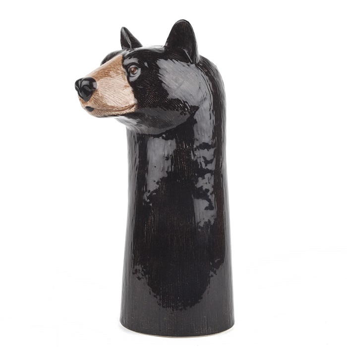 black bear vase by quail ceramics shows tall black vase with bear's head facing sideways