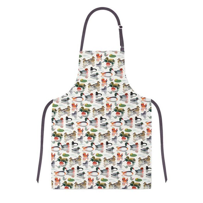 ducks apron shows many ducks in soft colours against a white background