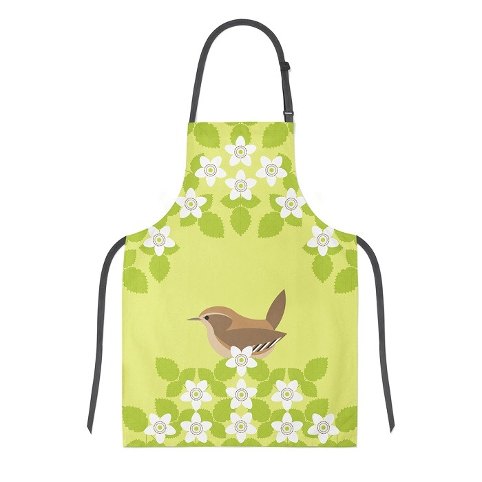 wren apron shows the small brown bird sideways on with blossoms against green background