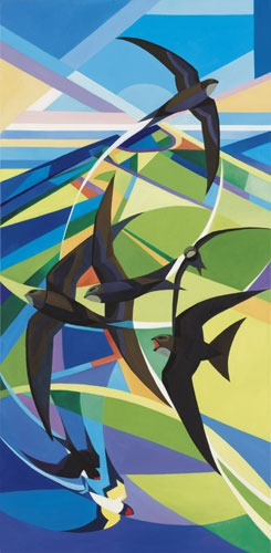 swifts and swallows card by alison ingram shows both birds against a stylised green and blue land and skyscape