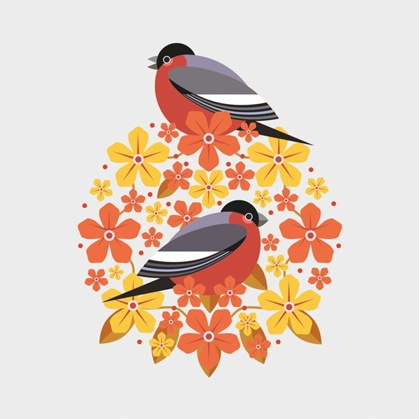 two bull finches sitting amongst red and yellow blossoms