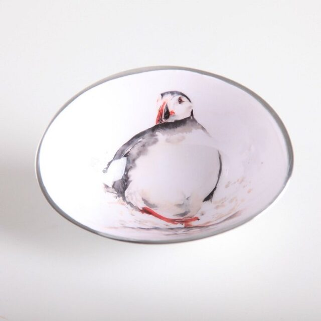 puffin oval bowl shows the puffin drawn in black against a white background