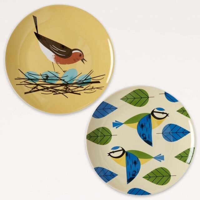 robin and blue tit set of 2 plates