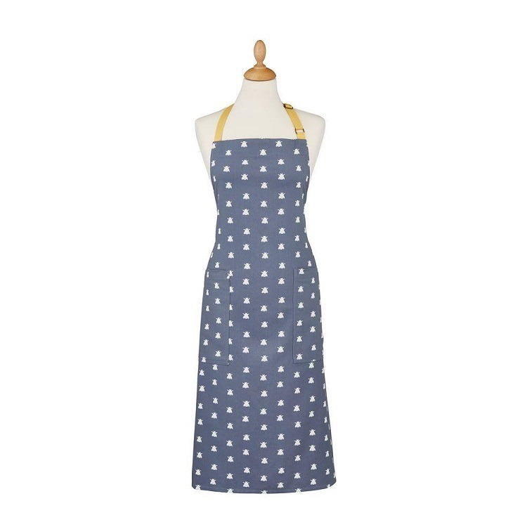 bees apron is grey with stylised bees in repeat pattern and a mustard yellow neck tie