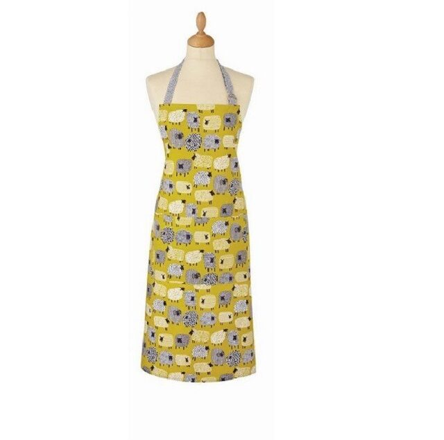 dotty sheep apron shows mustard yellow apron with sheep and grey neck tie