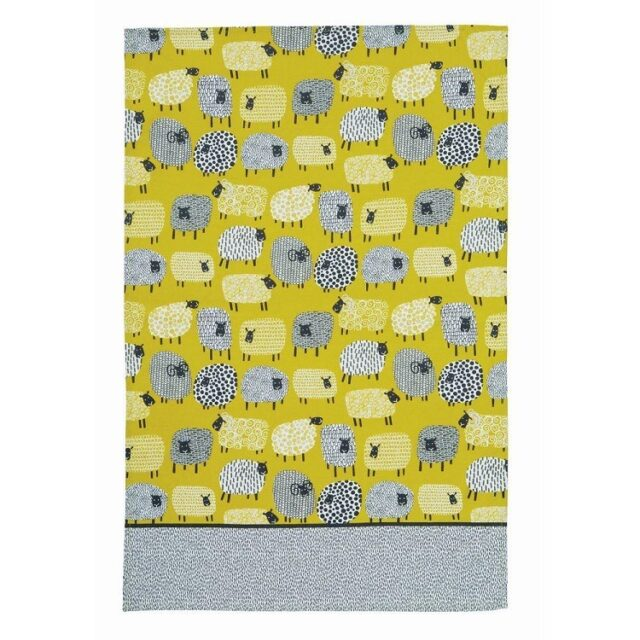 dotty sheep tea towel shows grey and mustard yellow sheep drawn against yellow background with grey bottom border