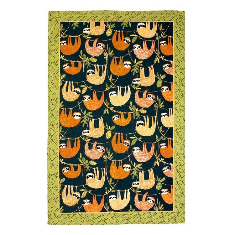 hanging around tea towel shows sloths upside down against a blue background with olive green border