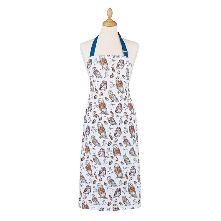 owls apron shows repeat pattern of owls and dark blue neck tie