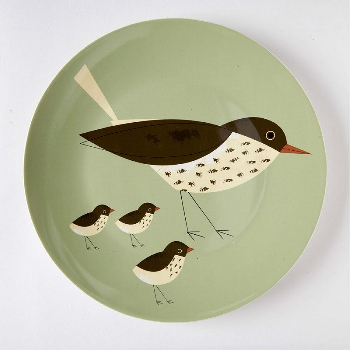 olive green thrush platter plate with brown and cream thrush
