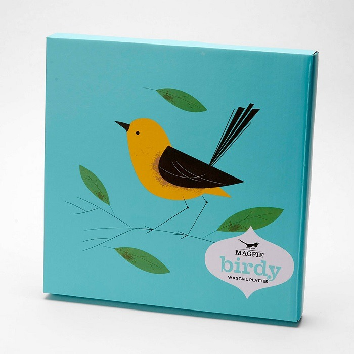 turquoise box for wagtail platter showing bird in yellow